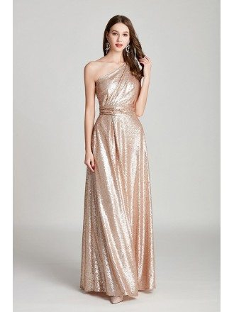 Sparkly Gold Sequin Pleated Long Formal Dress One Shoulder