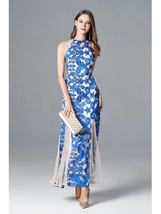 Feminine Long Slit Blue Lace Evening Dress Halter Neck