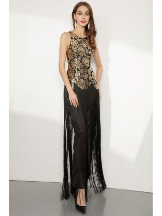 Sparkly Sequin Gold And Black Fringed Prom Dress