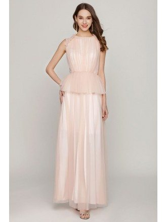 Long Peach Tulle Ruched Prom Dress For Juniors