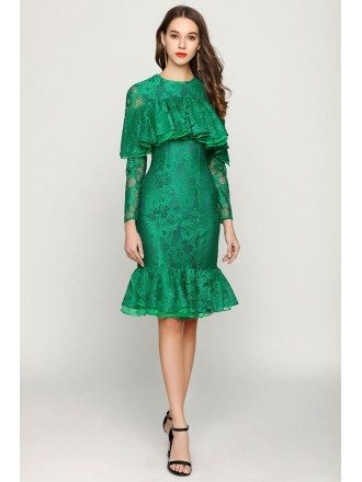 Cocktail Mermaid Green Lace Prom Dress With Ruched Sleeves