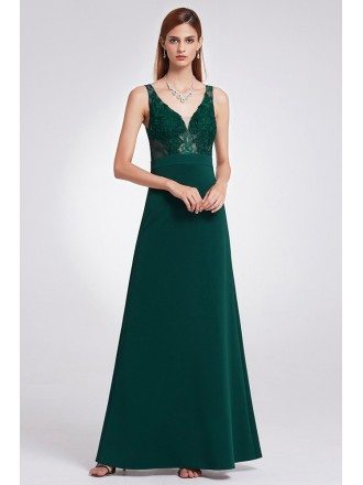Dark Green A Line Long Formal Dress With Lace Bodice