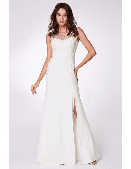 Long White Split Formal Dress With Sweetheart Lace Top