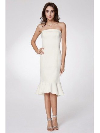 Simple Strapless Bodycon Madi Prom Dress With Falbala