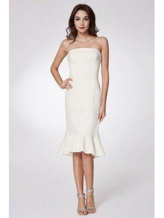 Simple Strapless Bodycon Madi Prom Dress With Falbala