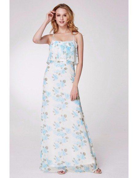 Blue Floral Printed Long Bridesmaid Dress Spaghetti Straps