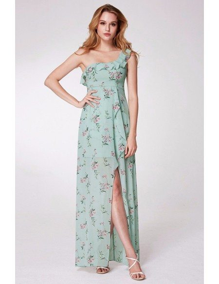Mint Green Printed Long Slit Prom Dress One Falbala Shoulder