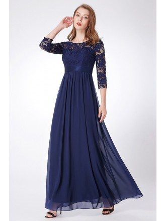Elegant Navy Blue Lace Chiffon Evening Dress Empire Waist