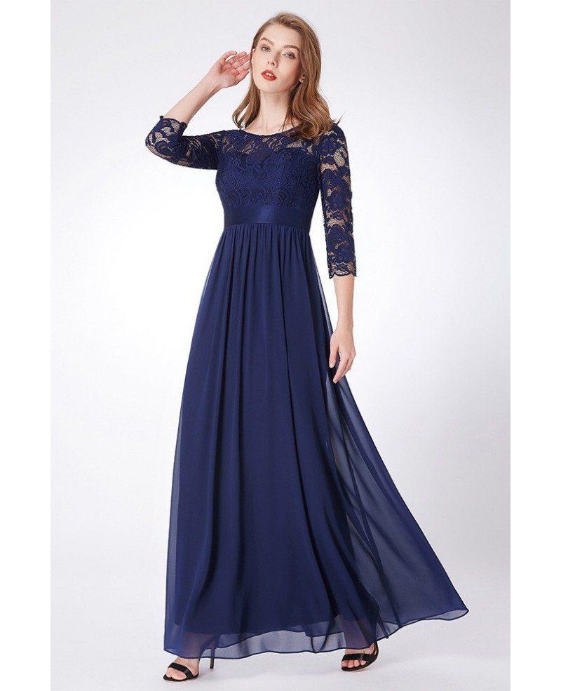 Chiffon Dressing Gown: $69 Elegant Navy Blue Lace Chiffon Evening Dress Empire