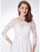 Elegant Long White Evening Gown 3/4 Sleeves Empire Waist