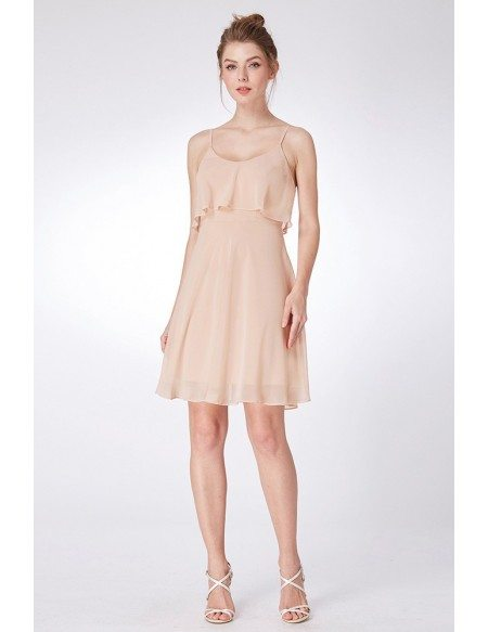 Simple Champagne Short Bridesmaid Dress With Spaghetti Straps