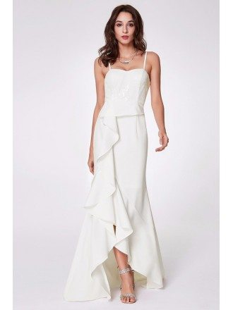 Hi Low White Sleeveless Ruched Slit Evening Dress For Woman