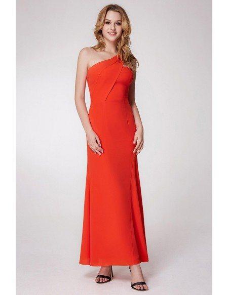 Simple Orange One Shoulder Formal Dress Long In Chiffon