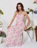 Special Pink Floral Printed Prom Dress Chiffon For Woman