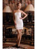 Sheath Strapless Short Lace Wedding Dress With Beading