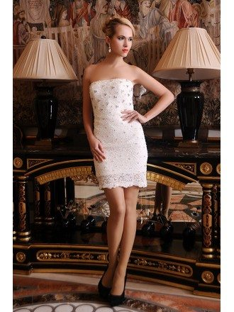 Sheath Strapless Short Lace Wedding Dress With Beading