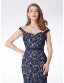 All Lace Navy Blue Long Evening Dress With Off Shoulder Straps