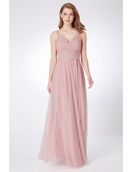 Dusty Rose Simple Pleated Tulle Bridesmaid Dress Floor Length