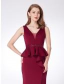 Formal Burgundy Long Slit Evening Dress With Beading Waist