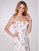 Romantic Flora Print Formal Prom Dress White And Pink