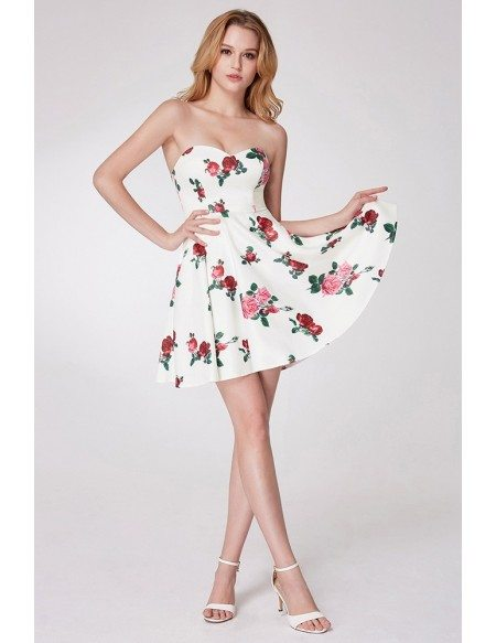 Rose Printed Little Cocktail Prom Dress