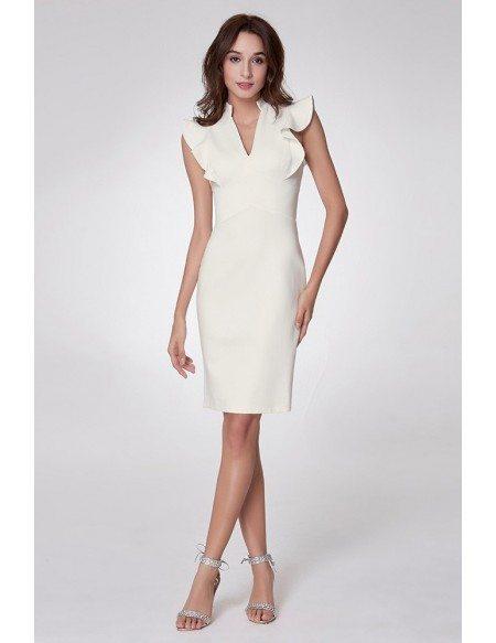 High Fashion Short Cocktail Dress With Falbala Shoulder