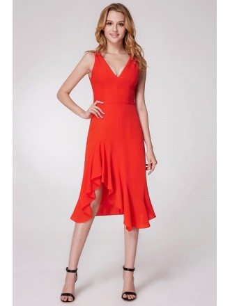 Short Hi Low Orange Prom Dress With V Neck