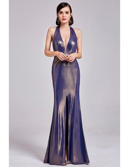Shining Sexy Deep V Long Halter Prom Dress With Open Back