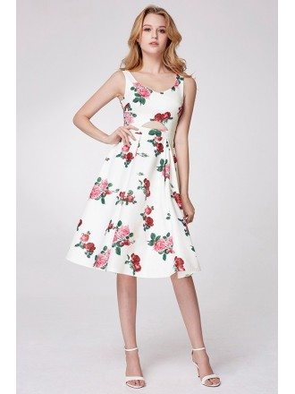 Elegant Floral Print Sweetheart A-line Prom Dress
