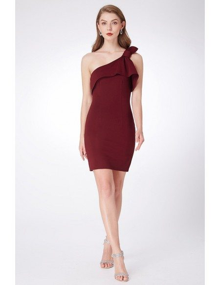 Simple One Shoulder Burgundy Cocktail Dress For Party