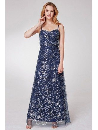 Navy Blue Long Sequined Prom Dress With Spaghetti Straps