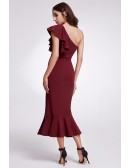 Burgundy One Shoulder Bodycon Madi Dress With Slit Front