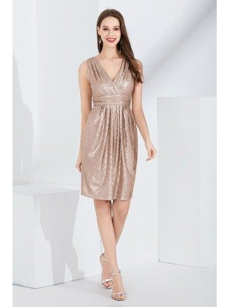 Sparkly Gold Sequin Pleated Prom Dress In Knee Length