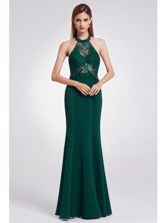 Unique Halter Dark Green Lace Fitted Formal Dress