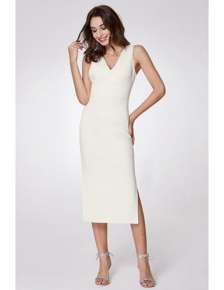 Simple Madi Casual Slit Dress With Double V Neck