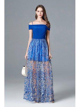Unique Lace Blue Long Prom Dress Off The Shoulder