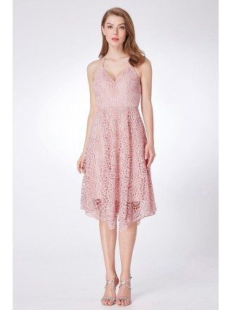 All Lace Short Pink Prom Dress With Spaghetti Halter Neck