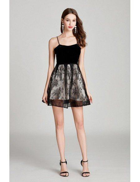 Spaghetti Lace Short Little Black Prom Dress For Girls