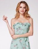 Mint Green Flora Print Bridesmaid Dress Strapless
