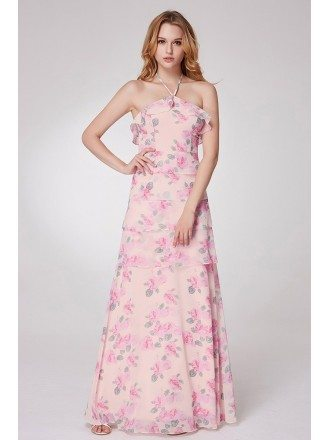 Elegant Rose Pink Printed Party Dress With Halter Strap