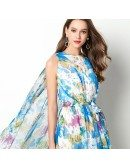 Beautiful Blue Floral Print Formal Dress With Long Cape