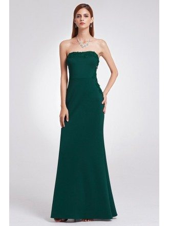 Strapless Elegant Dark Green Long Evening Dress With Lace