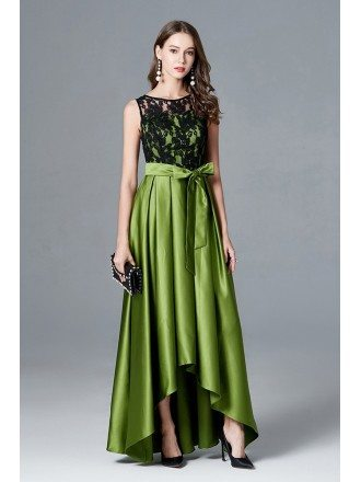 Lime Green High Low Satin Formal Dress With Black Lace Top