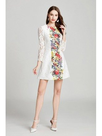 Modest Fashion Printed White Lace Sleeved Party Dress In Cocktail Length