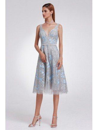 Unique Grey Lace Tea Length Prom Dress V Neck