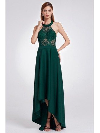 Elegant Halter High Low Green Lace Evening Dress