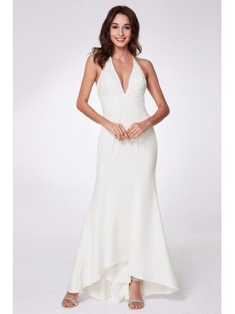 Deep V White Sleeveless Formal Dress With Lace Top
