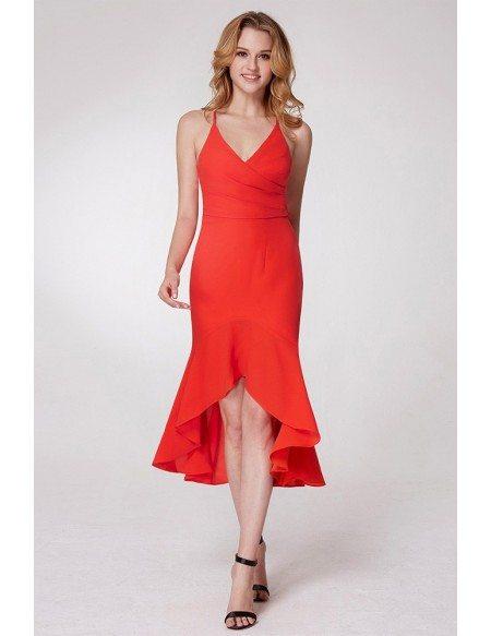 Hi Low Orange Fishtail Prom Dress With Adjustable Straps