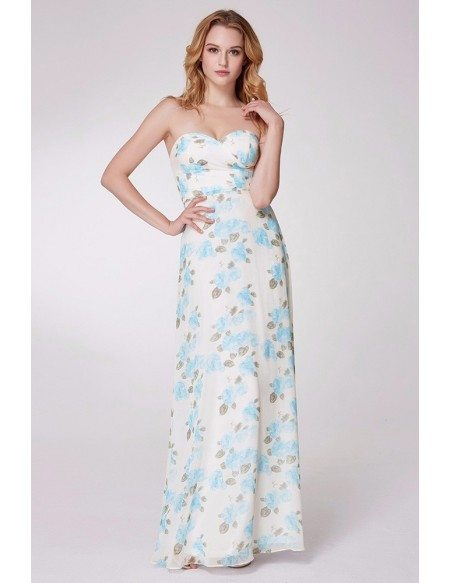 Strapless Blue Floral Print Long Prom Dress For Party