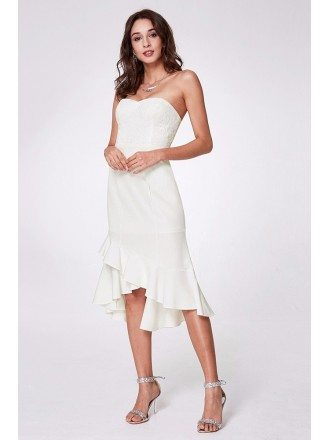 Strapless White Hi Low Prom Dress Short With Lace Bodice
